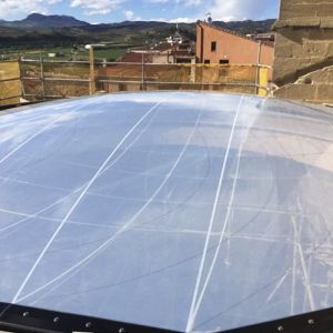 Transparent ETFE membrane in the dome of the church