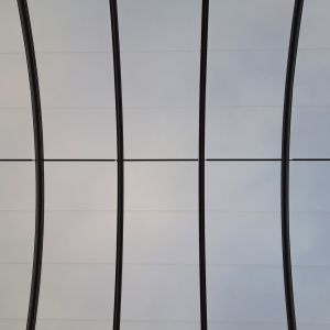 View of the sky from inside the station thanks to the transparency of the ETFE cushions.