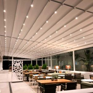 Nian pergola with ceiling lighting.
