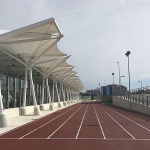 View of the running track and the canvas